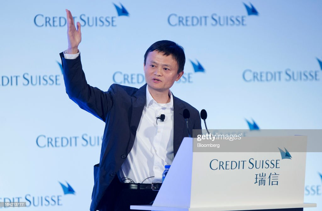 Jack Ma, chairman of Alibaba Group Holding Ltd., gestures as he speaks during the Credit Suisse Asian Investment Conference in Hong Kong, China, on Wednesday, March 20, 2013. Alibaba says it accounts for five percent of the China retail market. Photographer: Jerome Favre/Bloomberg via Getty Images