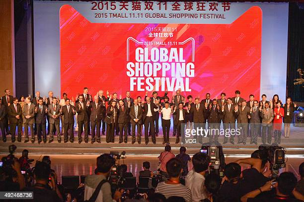 Jack Ma chairman of Alibaba Group Holding Ltd Michael Evans president of Alibaba Group Daniel Zhang Senior Vice President of Alibaba Group and guests...