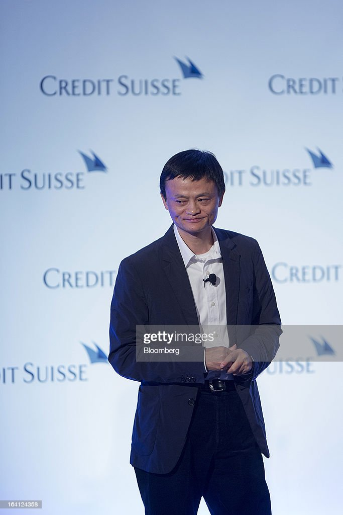 Jack Ma, chairman of Alibaba Group Holding Ltd., pauses while speaking during the Credit Suisse Asian Investment Conference in Hong Kong, China, on Wednesday, March 20, 2013. Alibaba says it accounts for five percent of the China retail market. Photographer: Jerome Favre/Bloomberg via Getty Images