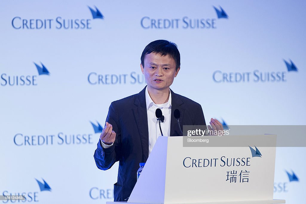 Jack Ma, chairman of Alibaba Group Holding Ltd., speaks during the Credit Suisse Asian Investment Conference in Hong Kong, China, on Wednesday, March 20, 2013. Alibaba says it accounts for five percent of the China retail market. Photographer: Jerome Favre/Bloomberg via Getty Images