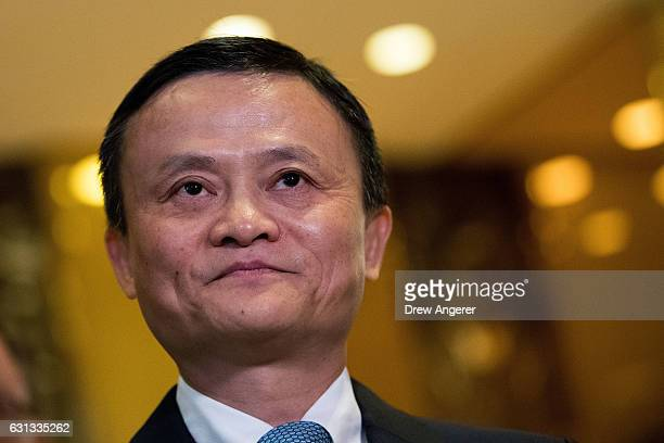 Jack Ma Chairman of Alibaba Group speaks with reporters following his meeting with Presidentelect Donald Trump at Trump Tower January 9 2017 in New...