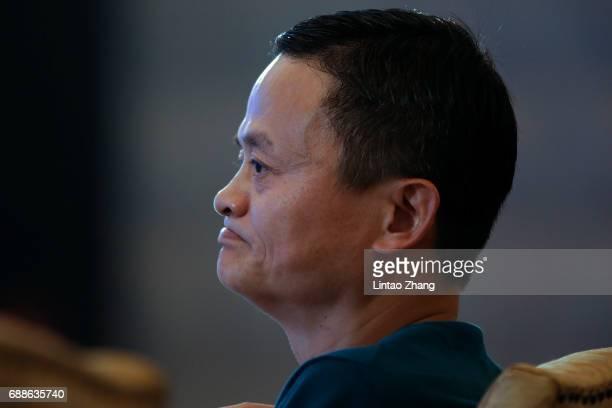 Jack Ma Executive Chairman of Alibaba Group looks on during the 2017 China International Big Data Industry Expo at Guiyang International...