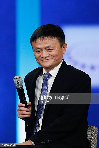 Jack Ma Executive Chairman of Alibaba Group smiles on stage at the closing session of the Clinton Global Initiative 2015 on September 29 2015 in New...