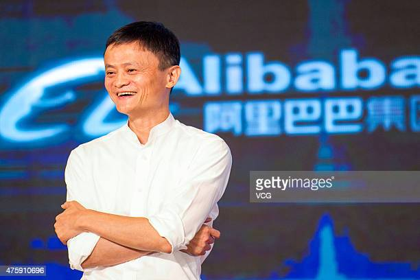 Jack Ma founder and Executive Chairman of Alibaba Group speaks during the signing ceremony between Alibaba Group and Shanghai Media Group Limited...