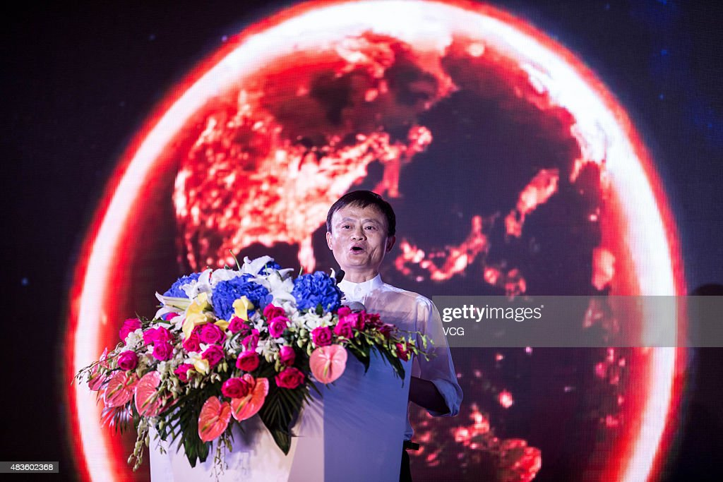 <a gi-track='captionPersonalityLinkClicked' href=/galleries/search?phrase=Jack+Ma&family=editorial&specificpeople=2110288 ng-click='$event.stopPropagation()'>Jack Ma</a>, founder and executive chairman of Alibaba Group, speaks during the conference of Alibaba Group Holding Ltd cooperating with Suning Commerce Group Co. Ltd on August 10, 2015 in Nanjing, Jiangsu Province of China. Alibaba Group Holding Ltd spent 28.3 billion RMB (about 4.56 billion USD) for a 19.99 percent stake in Suning Commerce Group Co. Ltd, becoming the second largest shareholder of Suning on Monday.