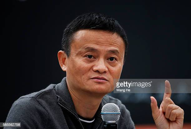 Jack Ma meets 40 rural teachers funded by him in the Xiaohewan Village Primary School on August 3 2016 in Guiyang China A hundred rural teachers from...