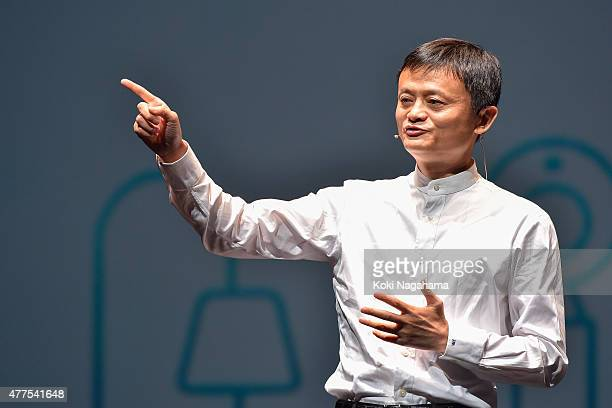 Jack MaCEO of the Alibaba Group speaks during the news conference on June 18 2015 in Chiba Japan Softbank Corp announced that its humanoid product...