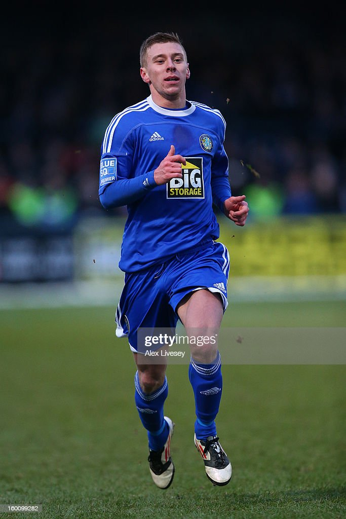 Jack Mackreth of Macclesfield Town in action during the Budweiser FA Cup fourth round match between Macclesfield Town and Wigan Athletic at Moss Rose Ground on January 26, 2013 in Macclesfield, England.