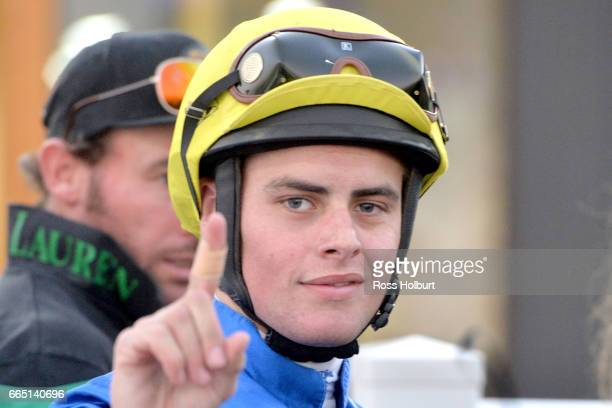 Jack Martin after winning XXXX Gold Maiden Plate at Racingcom Park Racecourse on April 06 2017 in Pakenham Australia