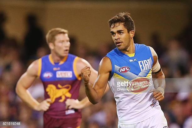 Jack Martin of the SUns celebrates a goal during the round four AFL match between the Brisbane Lions and the Gold Coast Suns at The Gabba on April 16...