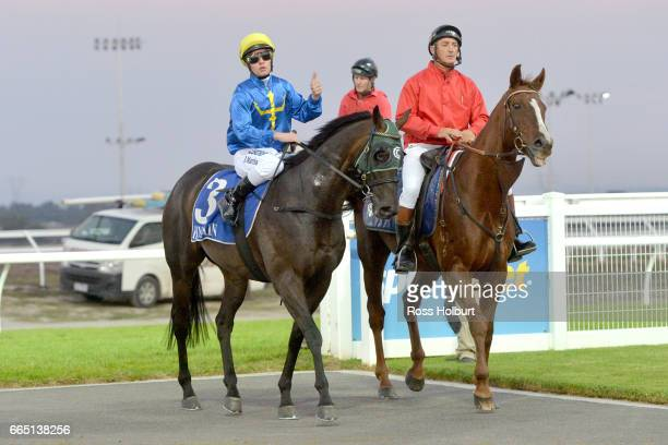 Jack Martin returns to the mounting yard on Night Sight after winning XXXX Gold Maiden Plate at Racingcom Park Racecourse on April 06 2017 in...