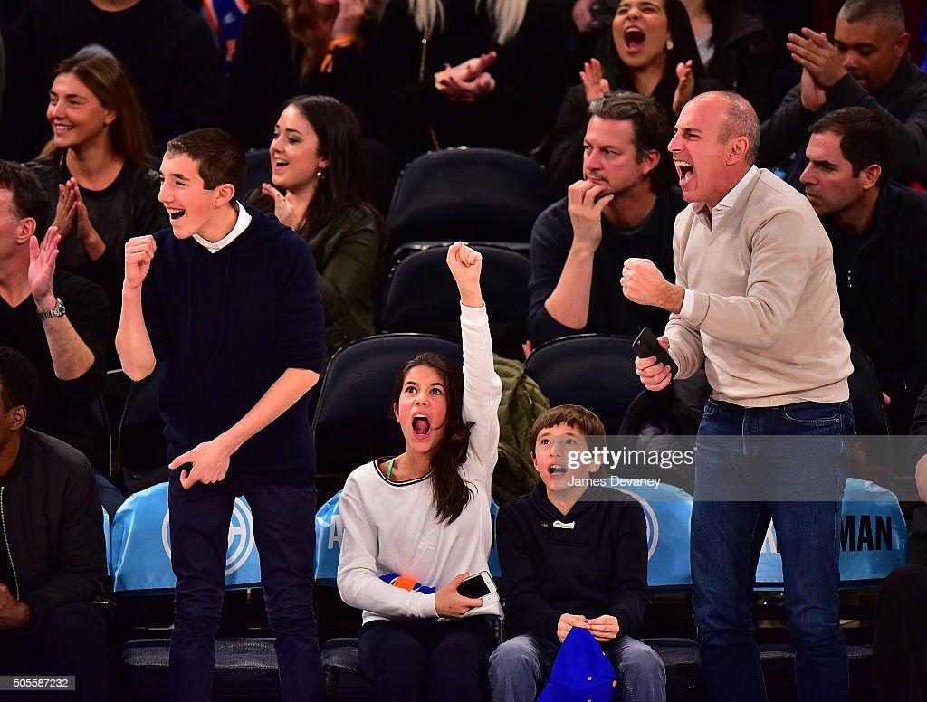 Celebrities Attend The Philadelphia 76ers Vs New York