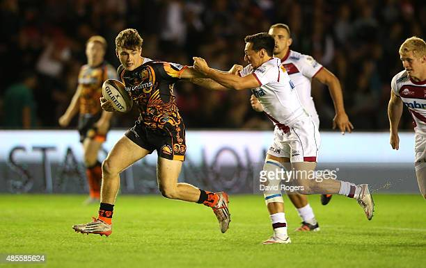 Jack Maunder of Exeter Chiefs breaks away in the Plate final against Sale Sharks during the Singha Premiership Rugby 7's Series finals at Twickenham...