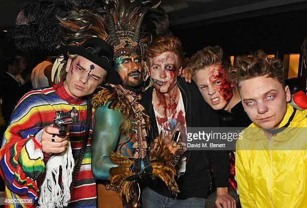 Jack Maynard Azim Majid guest Caspar Lee and Conor Maynard attend Hallowzeen at M Restaurant on October 30 2015 in London England