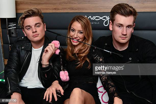 Jack Maynard Taryn Southern and Oli White attend the Moxy Berlin Hotel Opening Party on October 20 2016 in Berlin Germany