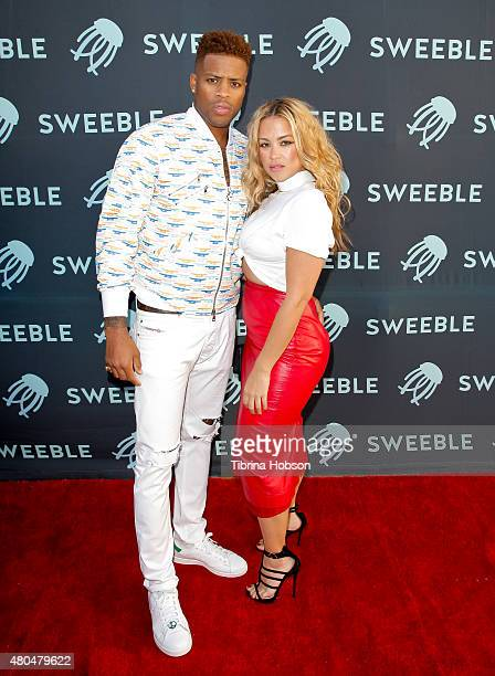 Jack McClinton and Germaine Renner attend the Sweeble and Arsenic Magazine party on July 11 2015 in Studio City California