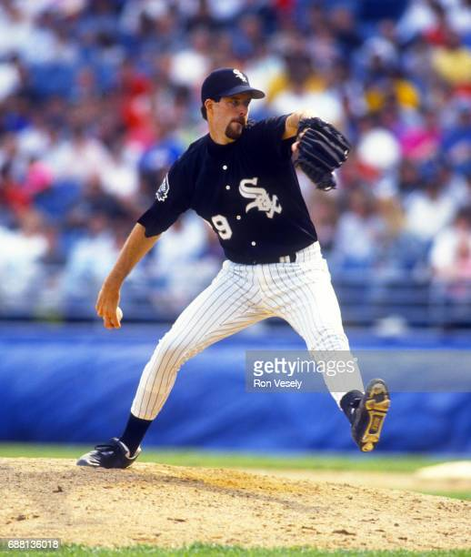 Jack McDowell of the Chicago White Sox pitches during an MLB game at new Comiskey Park in Chicago Illinois McDowell played for the White Sox from...