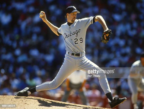 Jack McDowell of the Chicago White Sox pitches during an MLB game at County Stadium in Milwaukee Wisconsin McDowell played for the White Sox from...