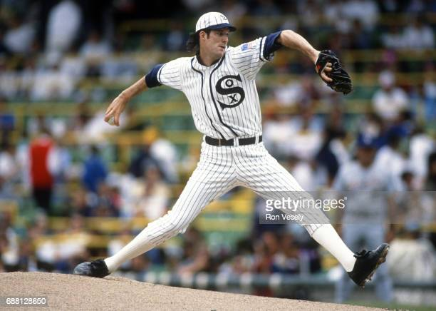 Jack McDowell of the Chicago White Sox pitches during the first 'Turn Back the Clock' game against the Milwaukee Brewers at Comiskey Park in Chicago...