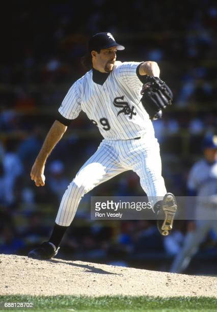 Jack McDowell of the Chicago White Sox pitches during the last game at old Comiskey Park in Chicago Illinois on September 30 1990 McDowell played for...