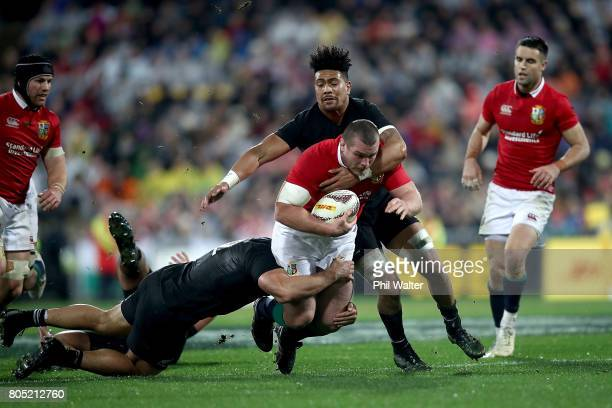 Jack McGrath of the Lions is tackled during the International Test match between the New Zealand All Blacks and the British Irish Lions at Westpac...