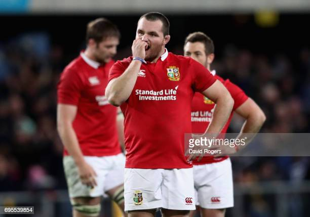 Jack McGrath of the Lions looks dejected after their defeat during the 2017 British Irish Lions tour match between the Highlanders and the British...