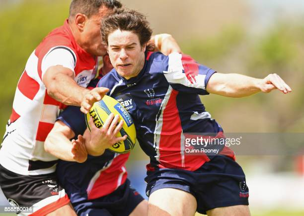 Jack McGregor of the Melbourne Rising breaks through a tackle during the round six NRC match between Melbourne and Canberra on October 8 2017 in...