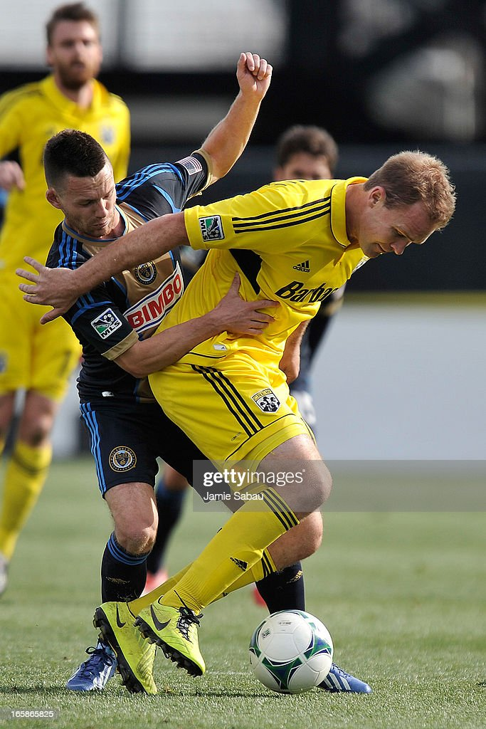 Jack McInerney #9 of Philadelphia Union and Chad Marshall #14 of the Columbus Crew battle for control of the ball in the first half on April 6, 2013 at Crew Stadium in Columbus, Ohio. Columbus and Philadelphia played to a 1-1 tie.
