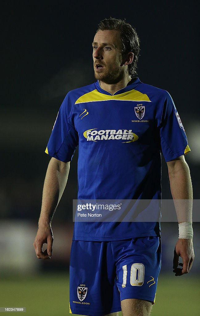 Jack Midson of AFC Wimbledon in action during the npower League Two match between AFC Wimbledon and Northampton Town at The Cherry Red Records Stadium on February 19, 2013 in Kingston upon Thames, England.