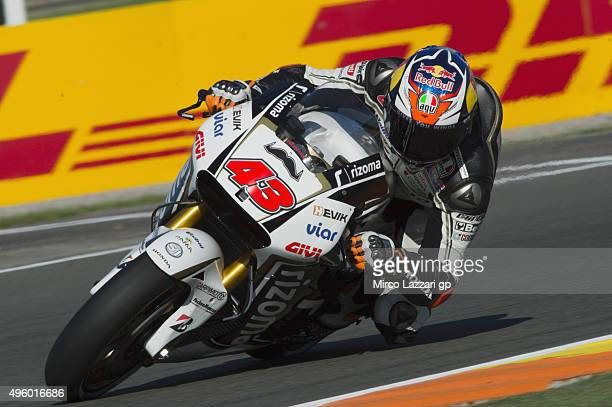 Jack Miller of Australia and CWM LCR Honda rounds the bend during the GP of Valencia Free Practice at Ricardo Tormo Circuit on November 6 2015 in...
