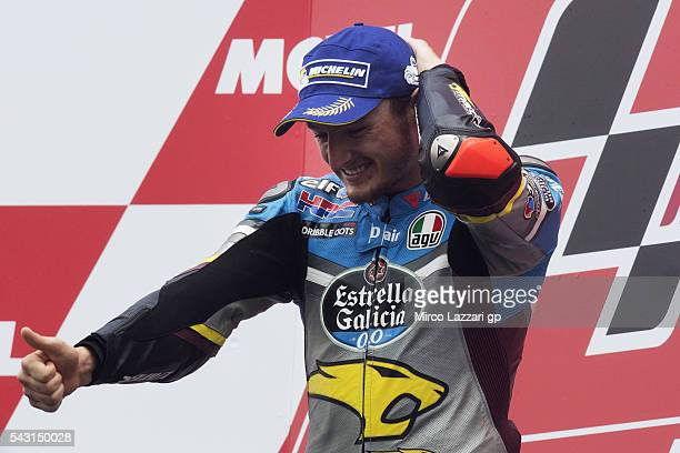 Jack Miller of Australia and Marc VDS Racing Team celebrates on the podium his first victory on the MotoGP race at the end of the MotoGP race during...
