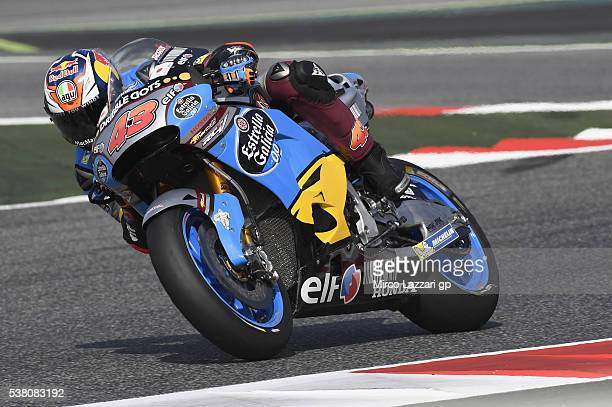 Jack Miller of Australia and Marc VDS Racing Team heads down a straight during the qualifying practice during the MotoGp of Catalunya Qualifying at...