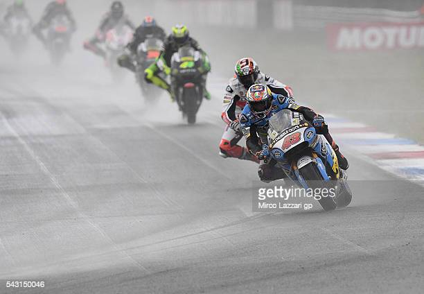 Jack Miller of Australia and Marc VDS Racing Team leads the field during the MotoGP race during the MotoGP Netherlands Race at on June 26 2016 in...