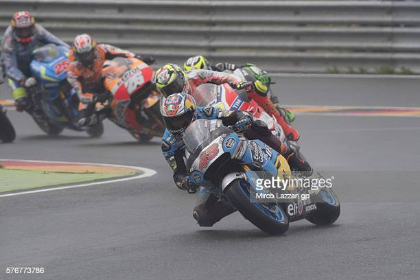 Jack Miller of Australia and Marc VDS Racing Team leads the field during the MotoGP race during the MotoGp of Germany Race at Sachsenring Circuit on...