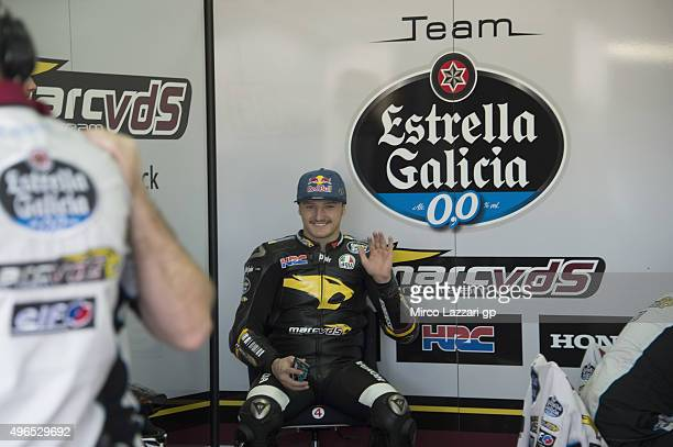 Jack Miller of Australia and Marc VDS Racing Team looks on in box during the first day of MotoGp Tests In Valencia at Ricardo Tormo Circuit on...