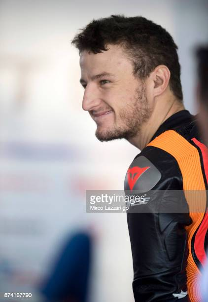 Jack Miller of Australia and Octo Pramac Racing looks on in box during the MotoGP Tests In Valencia day 1 at Comunitat Valenciana Ricardo Tormo...