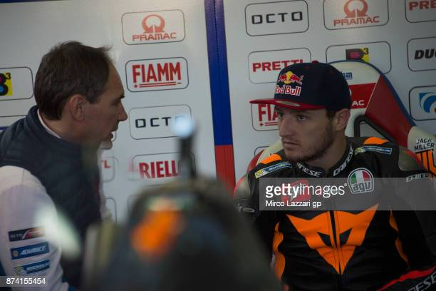 Jack Miller of Australia and Octo Pramac Racing speaks with mechanics in box during the MotoGP Tests In Valencia day 1 at Comunitat Valenciana...