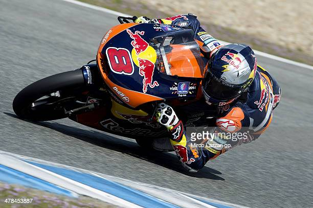 Jack Miller of Australia and Red Bull KTM Ajo rounds the bend during the Moto2 and Moto3 Tests in Jerez Day Three at Circuito de Jerez on March 13...