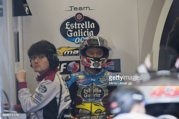 Jack Miller of Australia and Team EG 00 Marc VDS looks on in box during the MotoGp of France Qualifying on May 20 2017 in Le Mans France