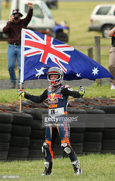 Jack Miller of Australia and the Red Bull KTM AJO ATM team celebrates winning the Moto3 race during the 2014 MotoGP of Australia at Phillip Island...