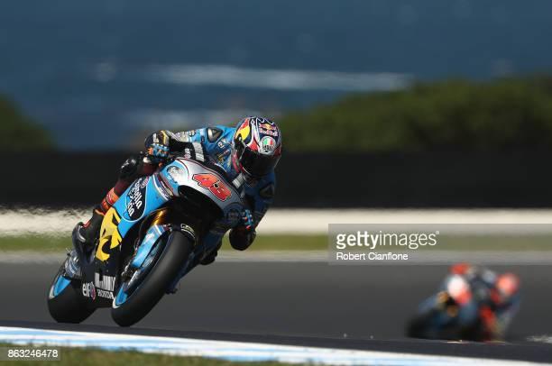 Jack Miller of Australia rides the EG 00 MARC VDS Honda during free practice for the 2017 MotoGP of Australia at Phillip Island Grand Prix Circuit on...