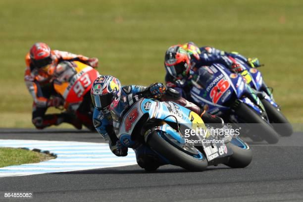 Jack Miller of Australia rides the EG 00 MARC VDS Honda leads the 2017 MotoGP of Australia at Phillip Island Grand Prix Circuit on October 22 2017 in...