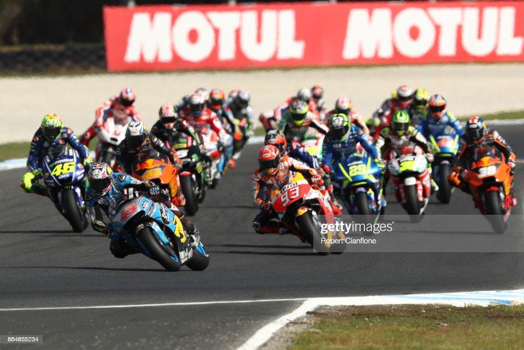 Jack Miller of Australia rides the #43 EG 0,0 MARC VDS Honda leads the 2017 MotoGP of Australia at Phillip Island Grand Prix Circuit on October 22, 2017 in Phillip Island, Australia.