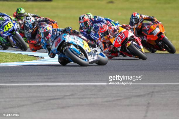 Jack Miller of Australia riding for EG 00 Marc VDS leads the race ahead of Marc Marquez of Spain Repsol Honda Team during the 2017 MotoGP of...