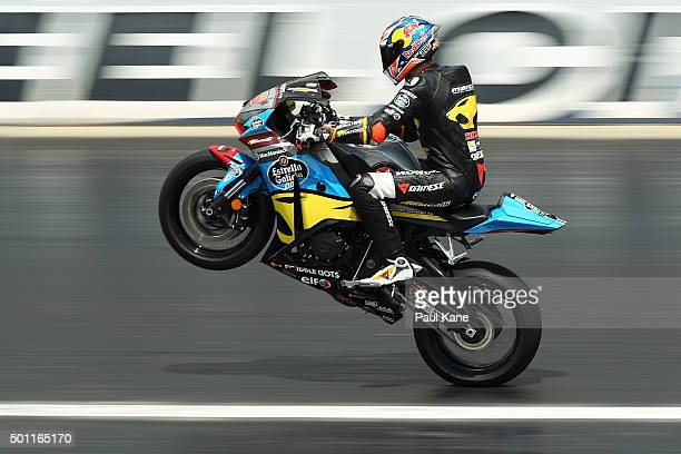 Jack Miller puts on a display during the Perth Speed Fest at Perth Motorplex on December 13 2015 in Perth Australia