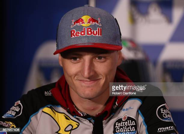 Jack Miller rider of the EG 00 MARC VDS Honda is seen during a press conference ahead of the 2017 MotoGP of Australia at Phillip Island Grand Prix...