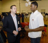 Head Coach Austin Ainge and player Paul Harris at the Boys Girls Clubs of Southern Maine 'Welcome to Maine' dinner for the Maine Red Claws at the...