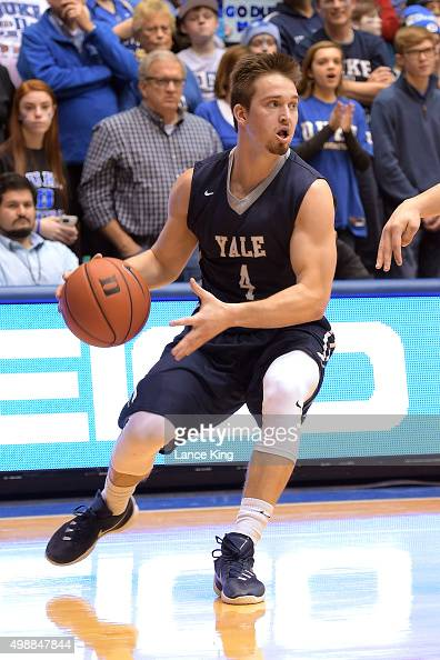 Jack Montague of the Yale Bulldogs moves the ball against the Duke Blue Devils at Cameron Indoor Stadium on November 25 2015 in Durham North Carolina...