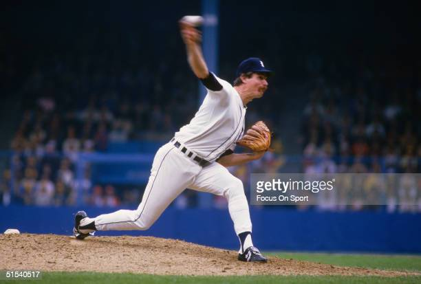 Jack Morris of the Detroit Tigers pitches against the San Diego Padres during the World Series at Tiger Stadum in Detroit Michigan in October of 1984