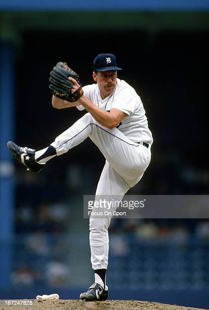 Jack Morris of the Detroit Tigers pitches during an Major League Baseball game circa 1989 at Tiger Stadium in Detroit Michigan Morris played for the...